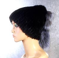 Женская меховая шапка Буратино из норки и чернобурки