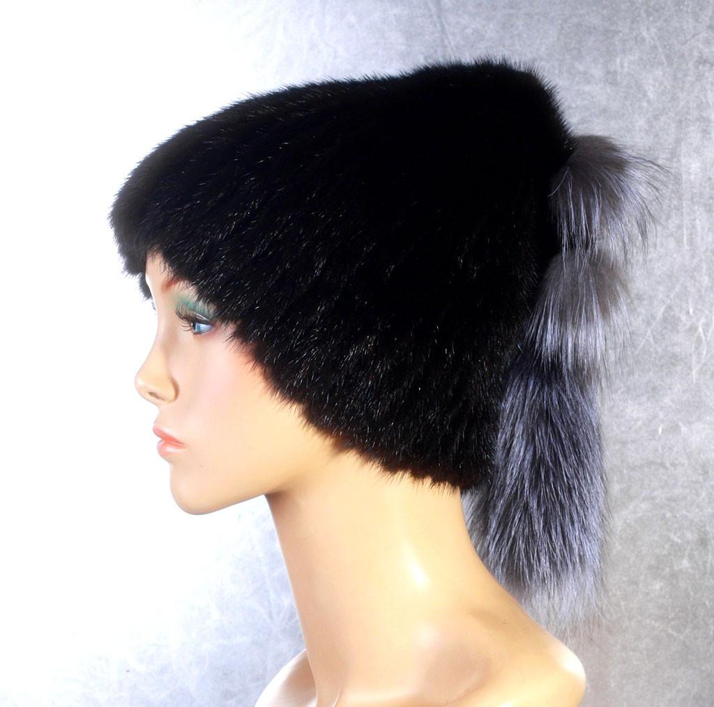 Жіноча хутрова шапка Буратіно з норки і чорнобурки