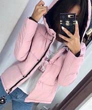 Жіноча куртка Рондо, щільна плащівка-антидощ, р-р С-М; М-Л (рожевий)