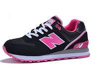 Женские кроссовки New Balance 574 black-pink, фото 1