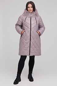 Зимове жіноче стеганное пальто-пуховик з натуральної опушенням Великі Розміри 48 50 52 54 56 58 60