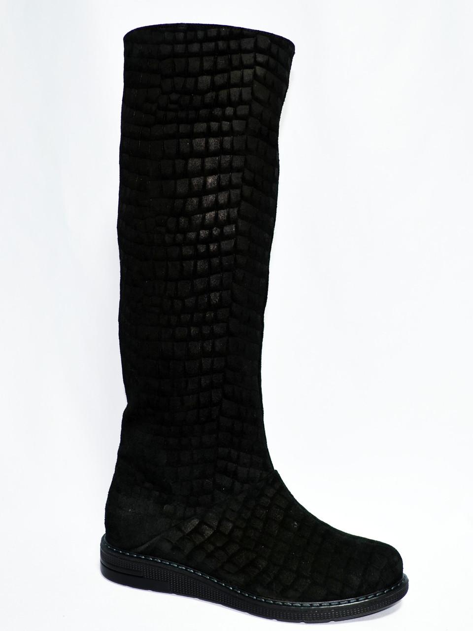 Женские сапоги на низком ходу из натуральной замши (замш-плита).