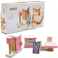 Дерев'яний іграшковий набір Cubika «Меблі 3» (13975)