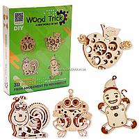 Деревянный конструктор Wood Trick мини-3D пазлов №3 (яблоко, лягушка, улитка, пряник)