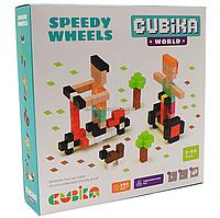 Дитячий дерев'яний конструктор Cubika (Кубики) швидкі колеса, 200 деталей, 15290