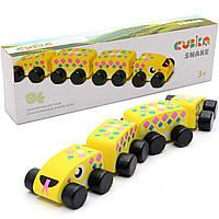"""Дитячий дерев'яний конструктор поїзд """"Змійка"""" Cubika(Кубики) 15412. Дерев'яні еко іграшки"""