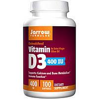 Витамин D3 (холекальциферол), Jarrow Formulas, 400 ME, 100 капсул