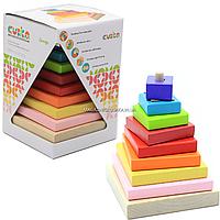 Дитячий дерев'яний конструктор пірамідка LD-5 Cubika (Кубики), 10 деталей (12329)