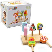 Дитячий дерев'яний набір Морозиво (Ice-cream) Cubika (Кубики), 7 деталей (14330)