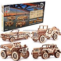 Деревянный конструктор Wood Trick мини-3D пазлов набор машинок 338 деталей (4820195190494)