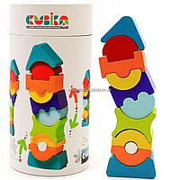 Дитячий дерев'яний конструктор Піраміда Cubika(Кубики) 12862. Дерев'яні еко іграшки