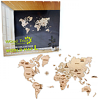 Деревянный конструктор Wood Trick Карта мира L, 64 детали. Техника сборки - 3d пазл