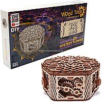 Деревянный механический конструктор Wood Trick Таинственный цветок. Техника сборки - 3d пазл, 278 деталей