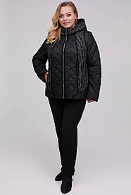 Стильна жіноча куртка демісезонна довжина до стегна Великі розміри 54-68