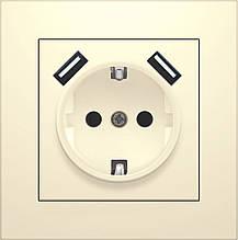 """Розетка одномісна з заземленням, з двома USB """"IDEAL BEIGE"""" ТМ """"MARSHEL"""""""