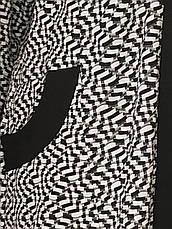 Стильный кардиган батал для полных женщин черно-белый, фото 2