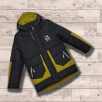 Зимняя куртка-парка для мальчика на флисе со светоотражающими элементами 122,128,134,140,146,152