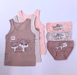 """Комплекти маєчки і трусики для дівчаток Donella, 4/5 років, зріст 110-116 """"Дві миші"""""""
