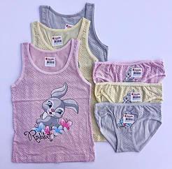 """Комплекти маєчки і трусики для дівчаток Donella, 4/5 років, зріст 110-116 """"Кролик"""""""