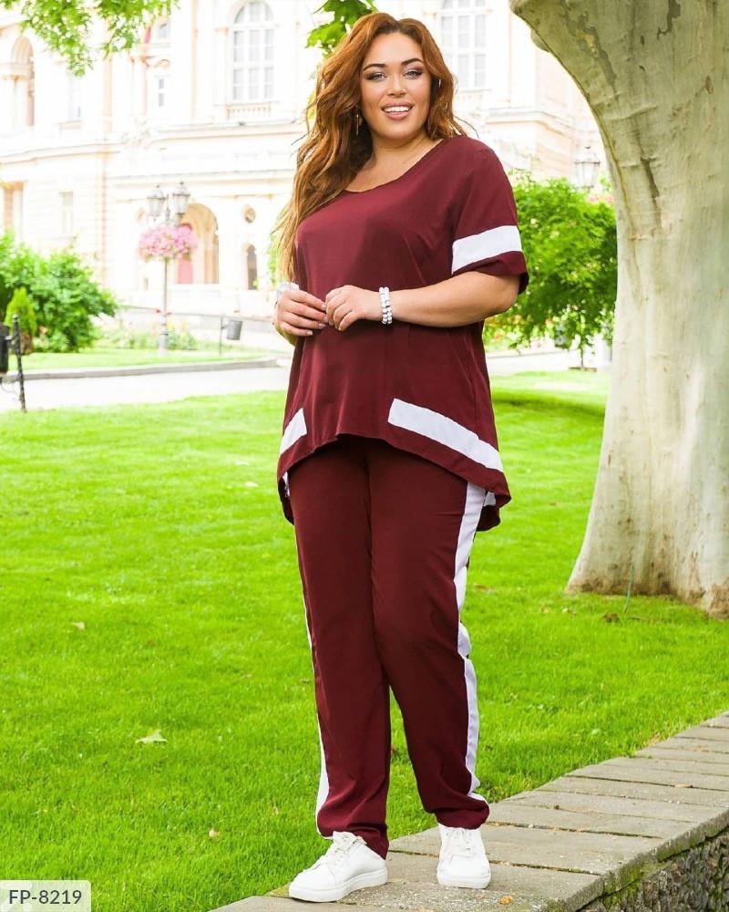 Комфортний прогулянковий костюм з софта штани і вільна асиметрична футболка р: 48-50,52-54,56-58 арт. 5443