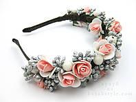 Обруч для волосся з квітами рожевий-сріблястий
