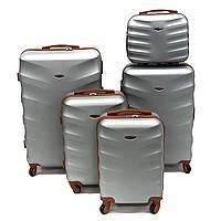 Великий дорожній чемодан поліпропілен срібло Арт.402 (L) Wings Польща, фото 1