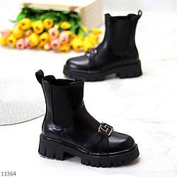 Высокие черные женские ботинки челси с эластичными вставками по бокам