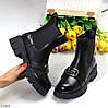 Высокие черные женские ботинки челси с эластичными вставками по бокам, фото 10