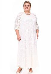 Белое гипюровое платье батал большого размера
