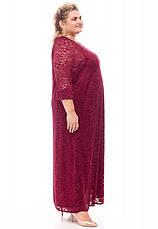 Платье гипюр для полных супер батал бордовое, фото 2