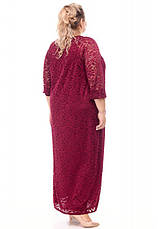 Платье гипюр для полных супер батал бордовое, фото 3