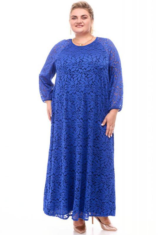 Гіпюрова сукня великого розміру кольору електрик
