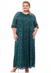 Вечернее платье из гипюра для полных длинное зеленое