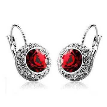 Серьги женские с красными камнями код 158