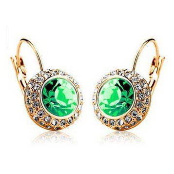 Серьги женские с зелеными камнями код 158