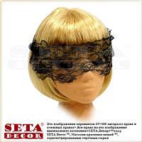 Венецианская Чёрная кружевная (ажурная) маска, повязка на глаза