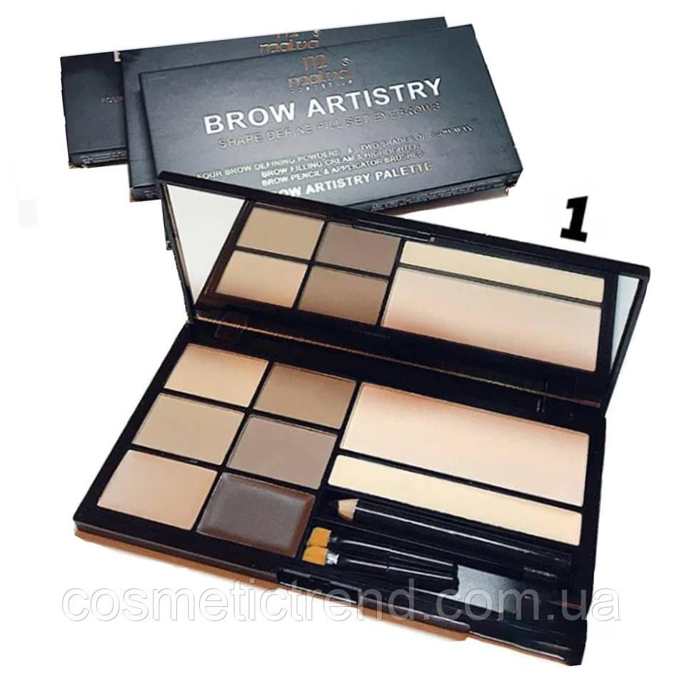 Набір для брів (тіні,віск,хайлайтер,олівець) BrowArtistry Palette M478/01 Malva Cosmetics (розпродаж)