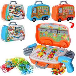 Болтовая мозаика 198-6B-7B конструктор на шурупах 139 элементов, шуруповерт, 2 цвета, в чемодане на колесах