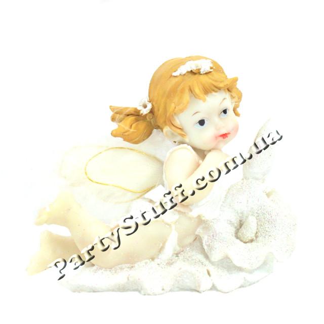 декоративная статуэтка ангелочек с цветком