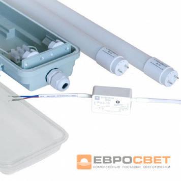 Світильник світлодіодний промисловий ЕВРОСВЕТ LED-SH-40 2*1200 IP65 з лампами 18Вт 4000К і запобіжником