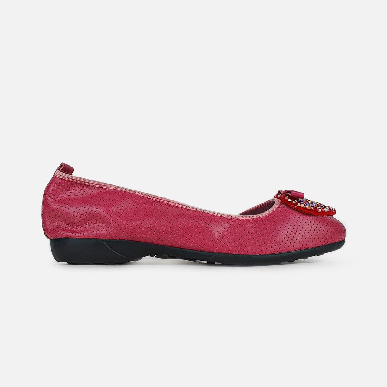 Модні балетки рожеві жіночі шкіряні