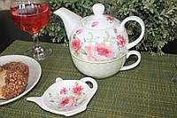 """Чайник заварочный с чашкой и блюдцем на чай"""" Mary Rose"""""""