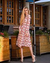 Летнее платье из софта на запах - принты листья и кораллы 40-42, 44-46  48-50