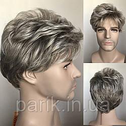 🤵♀️Мужской с проседью искусственный парик, короткий волос седой