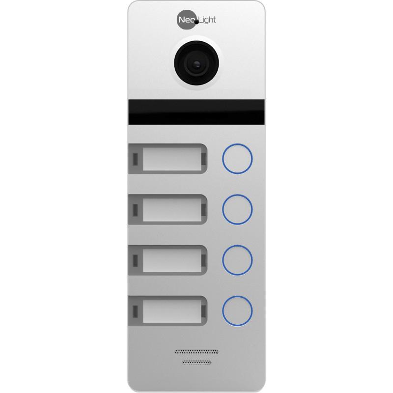 Виклична панель на 4 абонента Full HD\CVBS c кутом огляду 110°, без кутового кронштейна Neolight MEGA/4 FHD