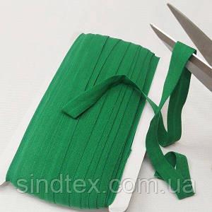 876 Трикотажная окантовочная бейка (эластичная, стрейч) 1,5см х 46м зеленая (СИНДТЕКС-1284)