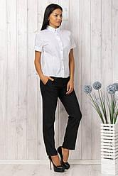 Рубашка женская белая классическая офисная блузка короткий рукав