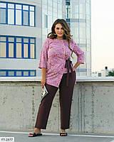 Елегантний брючний костюм двійка з асиметричною блузою в квітковий принт р: 50-52, 54-56, 58-60 арт. 7149/1, фото 1