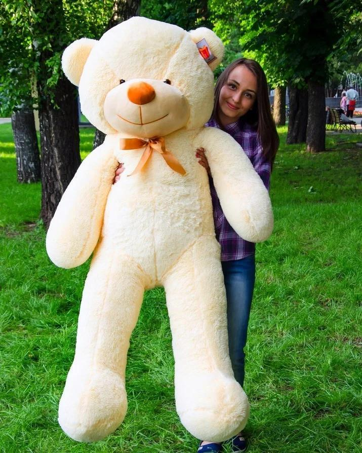 Плюшевый мишка, мягкая игрушка на подарок, мягкий медведь, игрушечный медведь бежевый Рафаэль 160 см