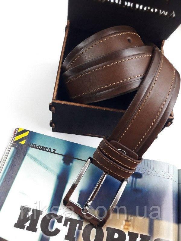 Ремень кожаный мужской Коричневый ширина 4 см, в ассортименте